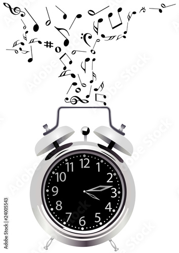 Illustration of a detailed clock with music notes