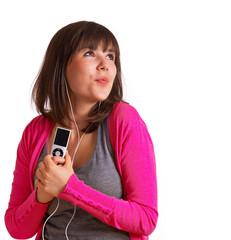 verliebte Frau hört Musik