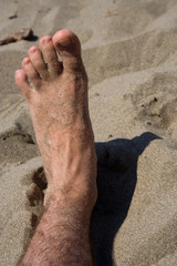 Sandy foot on the beach