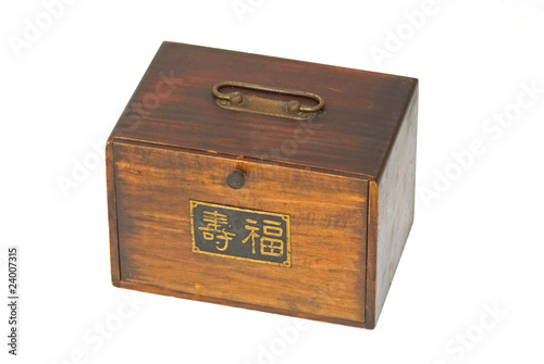 Antique mahjong wood box Chinese set & happy life sign