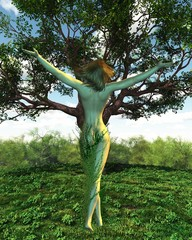 Dryad or Tree Nymph with her tree