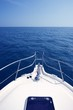 Blue ocean sea view from motorboat yacht bow