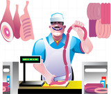 Butcher wearing apron at work poster