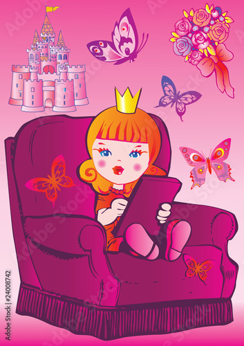 Foto op Aluminium Kasteel Princess sits on a chair. Fairy-tale.