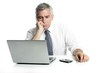 businessman sad senior thinking laptop computer