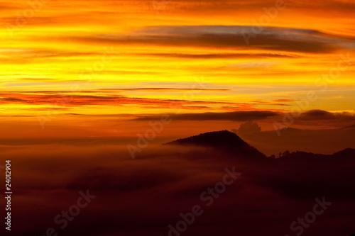 Sunrise at the Bromo volcano, Indonesia