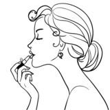Fototapete Silhouette - Lippenstift - Frau