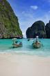Quadro A long tail boats in Maya Bay, Koh Phi Phi Ley, Thailand.
