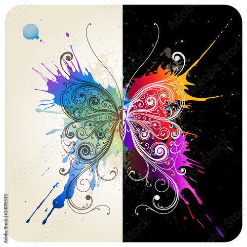 Poster Vlinders in Grunge Vector decorative butterfly