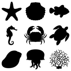 Sea animals silhouettes .