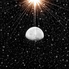 Abstract moon and star