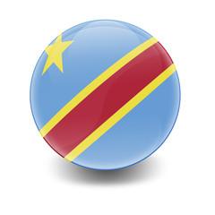 Esfera brillante con bandera Republica Democratica Congo