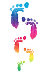 colorful child foot printed