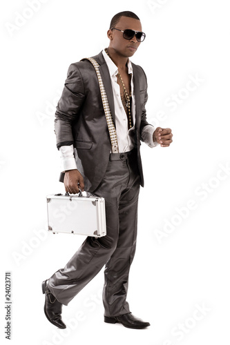 Gangster walking with his briefcase