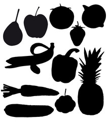 fruits and vegetables are black silhouettes