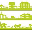 bannière campagne, tradition et une ville industrielle