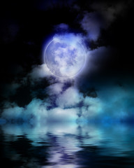Abstract moon, sky and water