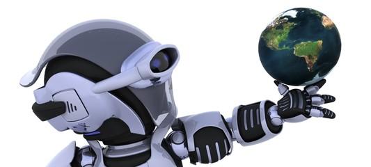 robot inspecting a globe