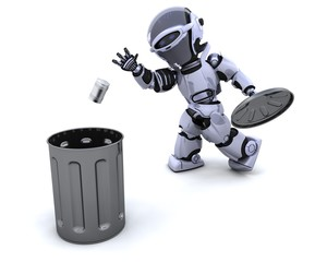 robot with trash