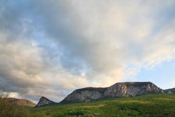 Evening spring mountains landscape (Crimea, Ukraine)