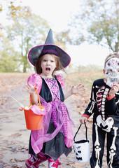 Surprised girl in Halloween costume