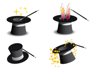 Vector magic hat isolated in white background