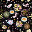 Flower abstract pattern with birds