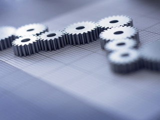 Close up of cogs forming graph