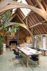 Oak beam architecture over dining table