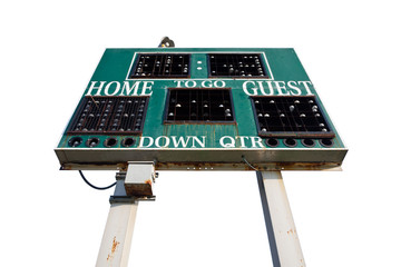 HIgh School Scoreboard Isolated on White