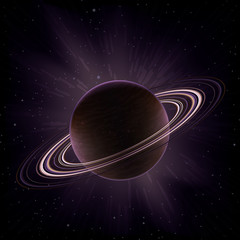 Vector giant gas planet surrounded by rings (like Saturn)