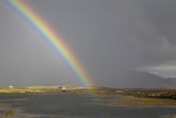 """Rainbow and hills, North Uist, Hebrides"""