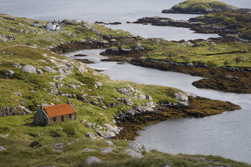 """Inlet and cottage, Rodel, Isle of Harris"""