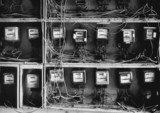 Close up of wires and old-fashioned meters