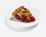 Close up of slice of cherry pie