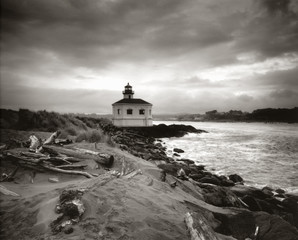 """Lighthouse and ocean, Bandon, Oregon"""