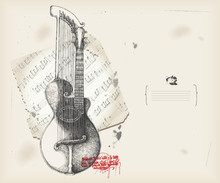 Harp-guitar drawing- music instrument with score- background