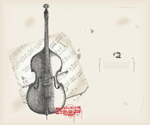 Double bass drawing- music instrument with score- background
