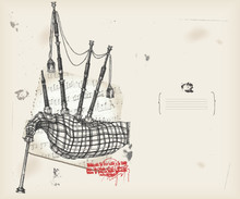 Bagpipe drawing- music instrument with score- background