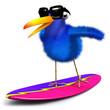 3d Blue bird surfs