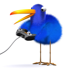 3d Blue bird goes for the high score