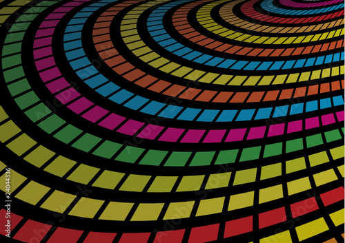 Radial vector path made of rainbow colored squares
