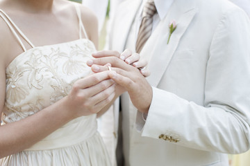 Bride putting ring on groom?s finger