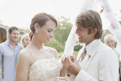 Groom putting ring on bride?s finger