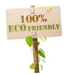 100% eco friendly green sign - wooden panel