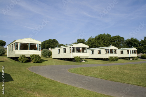 Static caravans in camping site