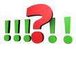 Fragezeichen vor einer Reihe von Ausrufezeichen 2