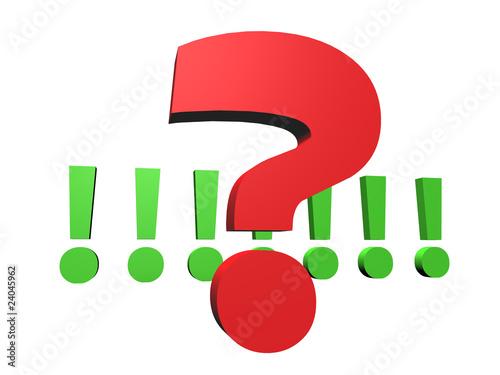 Fragezeichen vor einer Reihe von Ausrufezeichen