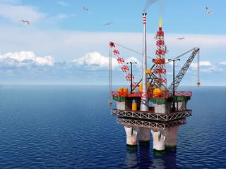 Piattaforma petrolifera in un mare calmo