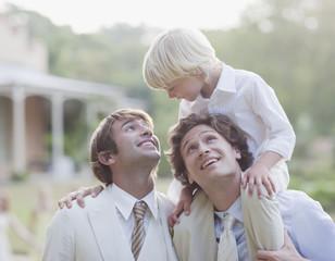 Groomsmen at wedding reception
